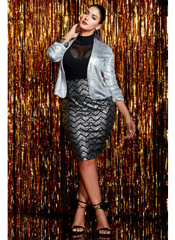 Plus Size Pencil Skirt in Metallic Chevron Print - SILVER - 8444070473163