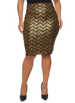 Plus Size Pencil Skirt in Metallic Chevron Print - 8444070473163