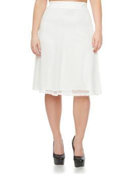 Plus Size Mesh Midi Skirt,IVORY,medium