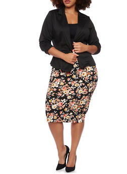 Plus Size Knit Blazer - BLACK - 8445020620375
