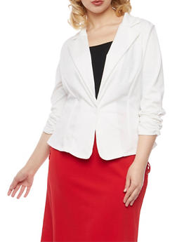 Plus Size Knit Blazer - IVORY - 8445020620375