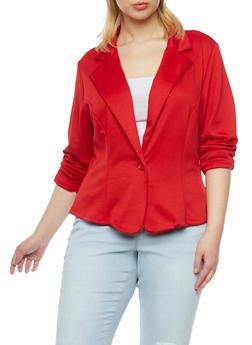 Plus Size Knit Blazer - RED - 8445020620375