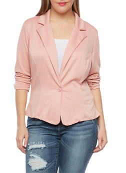 Plus Size Knit Blazer - 8445020620375
