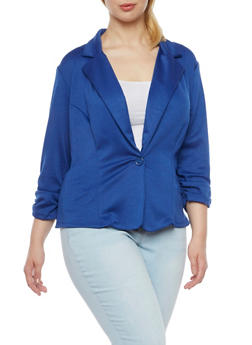 Plus Size Knit Blazer - ROYAL - 8445020620375