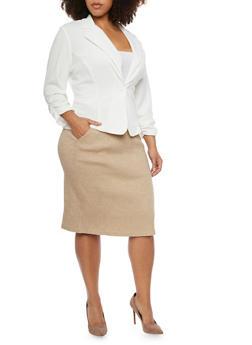 Plus Size Solid Knit Blazer - IVORY - 8445020620505