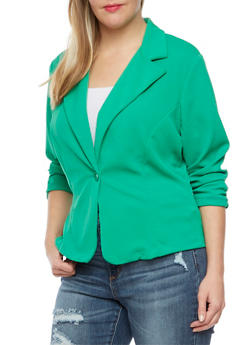 Plus Size Solid Knit Blazer - 8445020620505