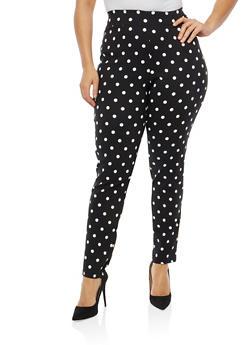 Plus Size Polka Dot Dress Pants - 8445020622176