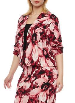 Plus Size Floral Print Blazer - WINE - 8445020624683