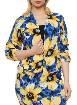 Plus Size Floral Print Blazer - 8445020624683