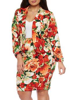 Plus Size Open Floral Blazer - GREEN - 8445020625646