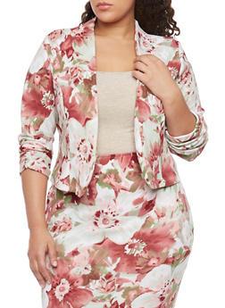 Plus Size Open Floral Blazer - MAUVE - 8445020625646