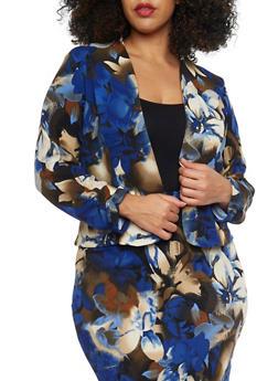 Plus Size Open Floral Blazer - MOCHA - 8445020625646