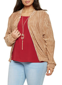 Plus Size Textured Crinkle Bomber Jacket - TAUPE - 8445020626518