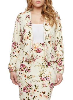 Plus Size Blazer with Floral Print and Open Front - 8445020626864