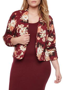 Plus Size Blazer with Floral Print and Open Front - BURGUNDY/MAUVE - 8445020626864