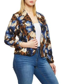 Plus Size Floral Open Front Blazer - 8445020629566
