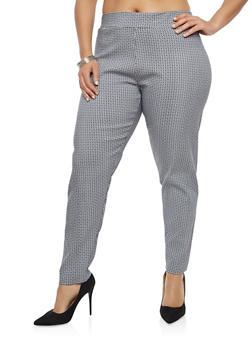 Plus Size Printed Dress Pants - 8445062706184
