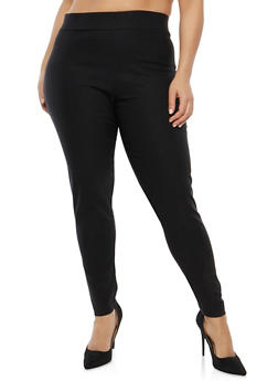 Plus Size Solid Pull On Pants - 8445062707618