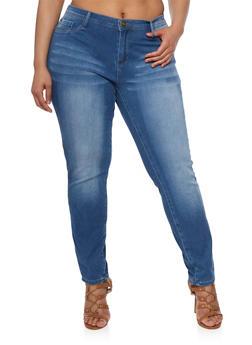 Plus Size Medium Wash Whiskered Jeans - 8448061651825