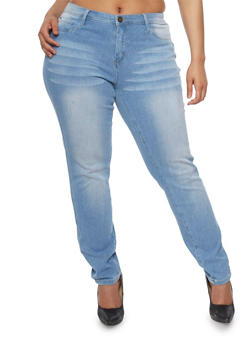 Plus Size Light Wash Whiskered Skinny Jeans - 8448061658257