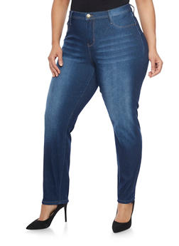Plus Size Denim Whisker Wash Jeans - 8448061659016