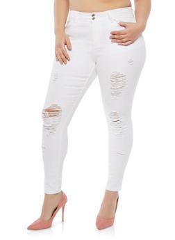 Plus Size Distressed Skinny Jeans - 8448064461385
