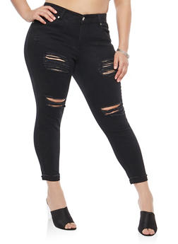 Plus Size Destroyed Jeans - 8448064461386