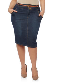 Plus Size Belted Denim Skirt - 8448064461667