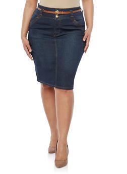 Plus Size Three Button Denim Skirt - 8448064461679