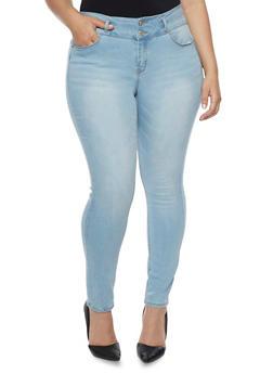 Plus Size WAX Skinny Stretch Faded Jeans - 8448071619006