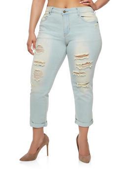 Plus Size Light Wash Destroyed Jeans - 8448074261405