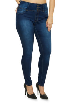 Plus Size High Waisted Skinny Jeans - 8449041759623