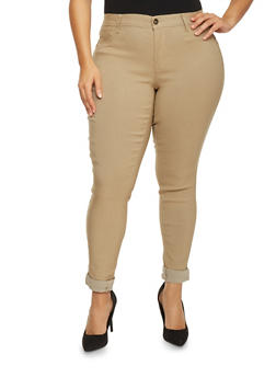 Plus Size Push Up Cuffed Skinny Jeans - 8449061654198