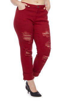 Plus Size Jeans with Distressing - BURGUNDY - 8449061659956