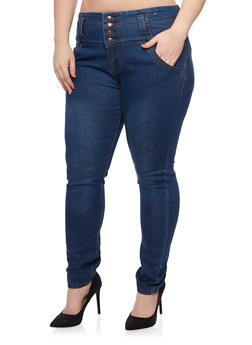 Plus Size High Waisted Jeans with Four Buttons - 8449064463398