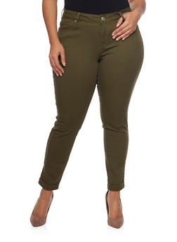 Plus Size Wax Skinny Jeans with Rolled Cuffs - OLIVE - 8449071610045