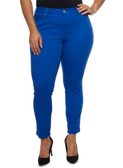 Plus Size Wax Skinny Jeans with Rolled Cuffs - 8449071610045