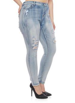 Plus Size WAX Skinny Fit Distressed Jeans - 8449071610046