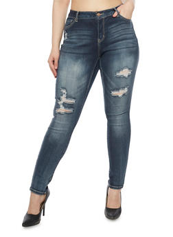 Plus Size WAX Skinny Fit Distressed Jeans - 8449071610046