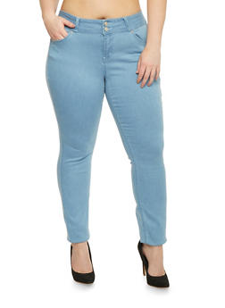 Plus Size WAX Skinny Jeans with 2 Button High Waist - 8449071610048