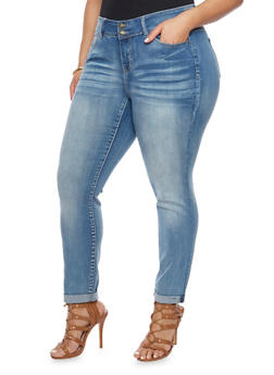 Plus Size Wax Two Button Cuffed Jeans - 8449071610050