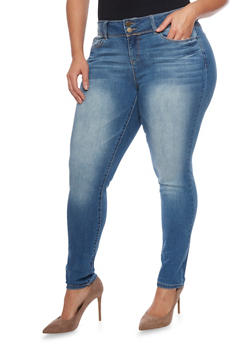 Plus Size WAX Whisker Wash Skinny Jeans - 8449071610051