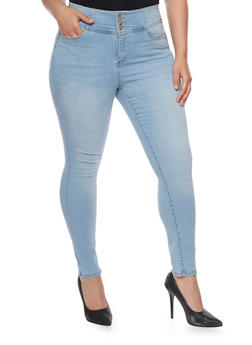 Plus Size Wax Push Up Four Button Waist Jeans - 8449071613600