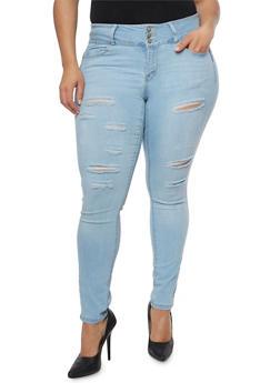 Plus Size WAX Slashed Whisker Wash Jeans - 8449071619006