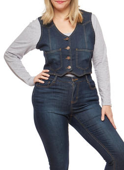 Plus Size Denim Vest - 8451064461615