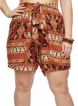 Plus Size Printed Tie Wrap Shorts - 8452020620767