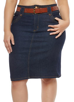 Plus Size Belted High Waisted Denim Skirt - 8452064461718
