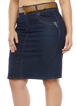 Plus Size Belted Denim Skirt with Stitching Detail - 8452064461729