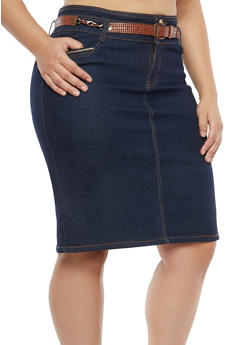 Plus Size High Waisted Denim Skirt