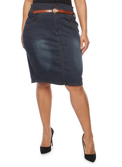 Plus Size Dark Wash Belted Denim Skirt - 8452064464189